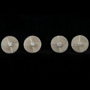 Gold Diamond Cuff Links and Shirt Studs