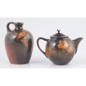 Rookwood Pottery Standard Glaze Whiskey Jug and Teapot