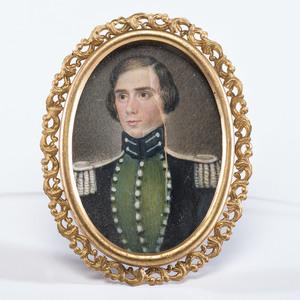 Miniature Portrait of Seminole War-Era Captain George W. Hutchins by Daniel F. Ames