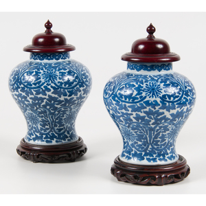 Pair of Chinese Porcelain Qing Blue and White Covered Jars 青花纏枝花卉紋將軍罐一對