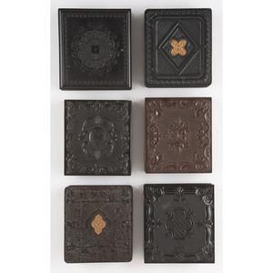 Six Scarce Sixth Plate Geometric Union Cases Containing Portraits of Men [Berg 3-140, 3-145, 3-153G, 3-173S, 3-178, 3-189G]