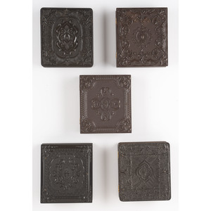 Five Sixth Plate Geometric Union Cases Containing Portraits of Well-Dressed Gentlemen [Berg 3-153, 3-155, 3-160, 3-164, 3-179]