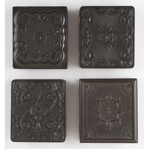 Four Sixth Plate Geometric Union Cases, Including a Scarce Example, Containing Paired Portraits of Men and Women [Berg 3-134, 3-151, 3-154, 3-172]