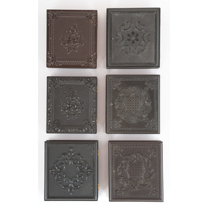 Six Sixth Plate Geometric Union Cases Containing Portraits of Men and Women [Berg 3-124, 3-130, 3-132, 3-136, 3-137]