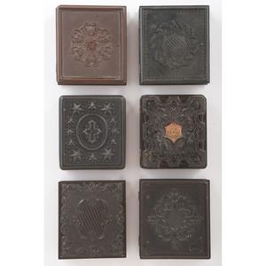 Six Sixth Plate Geometric Union Cases Containing Portraits of  Women [Berg 3-114, 3-123, 3-125G, 3-127, 3-131, 3-139]