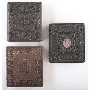 Trio of Sixth Plate Geometric Union Cases, Including a Scarce Example, Housing Portraits of Subjects Posed with Cases [3-111, 3-115C, 3-126]