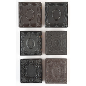 Six Sixth Plate Geometric Union Cases Containing Paired Portraits of Couples, Including a Soldier [Berg 3-92, 3-93, 3-95, 3-96/3-112, 3-99, 3-107]