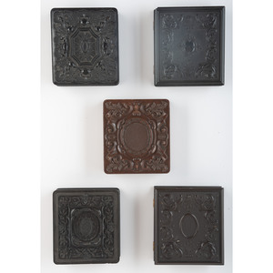 Five Sixth Plate Geometric Union Cases, Including a Tintype of Horse-Drawn Wagons [Berg 3-91, 3-104, 3-109, 3-117, 3-186]