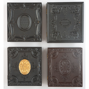 Four Sixth Plate Geometric Union Cases Containing Daguerreotypes of Women [Berg 3-94, 3-96, 3-96G, 3-118]