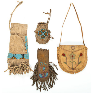 Collection of Northern Plains Beaded and Embroidered Hide Pouches