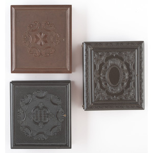 Three Sixth Plate Geometric Union Cases Housing Daguerreotypes of Self-Assured Men [Berg 3-100, 3-120, 3-128]
