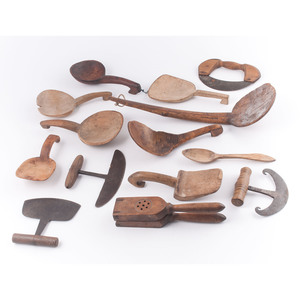 Large Group of Treenware Including Scoops and Choppers