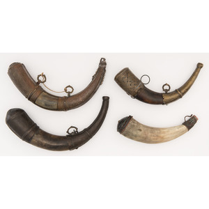 Four Middle Eastern Powder Horns