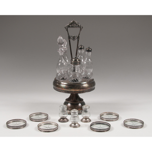 Silver Cruet Set, Casters, and Coasters