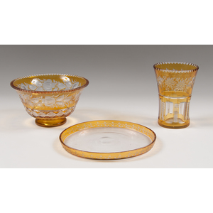 Amber Cut-to-Clear Glass Vase, Bowl and Tray