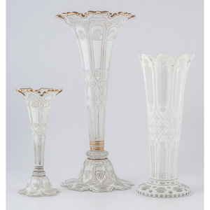 White Cut-to-Clear Glass Vases