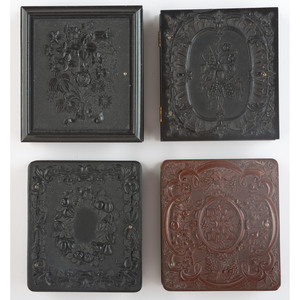 Four Rare Sixth Plate Union Cases Featuring Flowers and Fruit with Portraits of Women and Children [Berg 2-16S, 2-29, 2-33, 2-43]