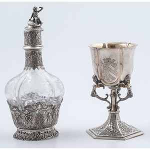 Hanau Silver Overlay Decanter and German Silver Goblet