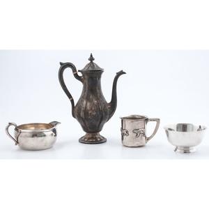 American Sterling Child's Mug, Demitasse Pot, Bowl and Gravy Boat