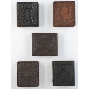Five Sixth Plate Union Cases Bearing Fruit and Flowers Containing Daguerreotypes of Men and Women [Berg 2-16R, 2-18, 2-27, 2-37, 2-40S]