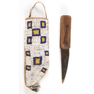 Sioux Beaded Hide Knife Sheath with Knife