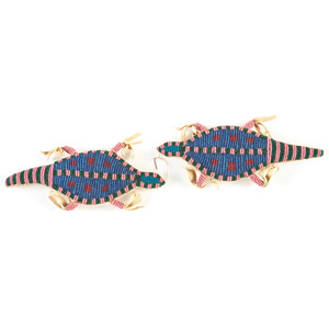 Pair of Sioux Beaded Hide Umbilical Fetishes