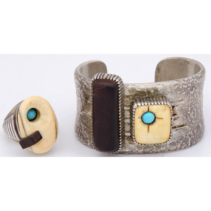 Robert Sorrell (Dine, 20th century) Navajo Silver Cuff and Ring