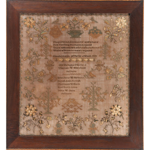 Floral Needlework Sampler, Elizabeth Jefferis