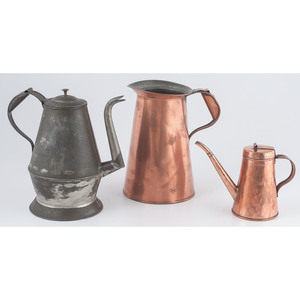 Copper Pitchers and Tin Coffee Pot