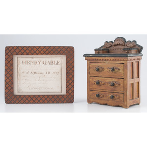 Miniature Tramp Art Chest of Drawers and Frame