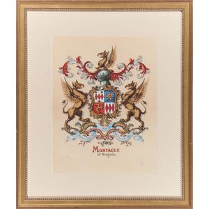 Gouache Coat of Arms, Montague of Virginia