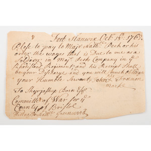 [Americana - Manuscript Ephemera] Scarce French and Indian War Manuscript Document Regarding Payment of an Officer, From Fort Stanwix, New York, 1762