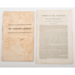 [Americana - Daniel Webster Speeches - George Washington] Pair of Printed Speeches Delivered by Daniel Webster, One on the Topic of George Washington