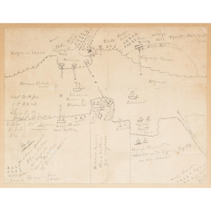 Civil War Hand-Drawn Battle Map of Virginia, Ca 1862-1863