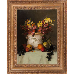 Still Life with Fruit and Flowers, Signed Blass, Oil on Canvas