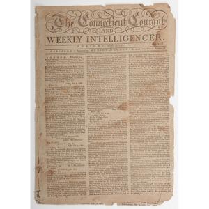 [Americana - 18th C. Newspaper] Revolutionary War Newspaper, 1781, Featuring Report on John Trumbull Arrest