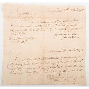 [Americana - 18th Century Manuscript Documents] Revolutionary War-Era Handwritten Notices from Camp Connecticut Village, 1781