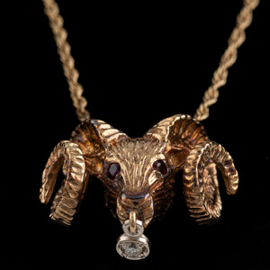 14k Gold Ram's Head Necklace