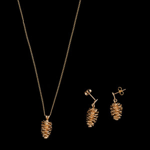 14k Gold Pinecone Necklace and Earrings