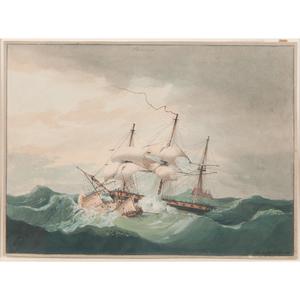 19th-Century British Nautical Watercolor
