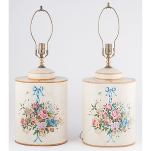Tole Painted Jar Table Lamps
