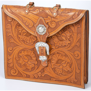 Southwestern Style Tooled Leather Bag with Silver Buckle