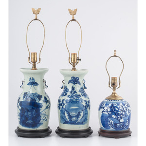 Chinese Blue and White Vase Lamps