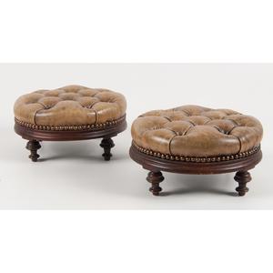 Pair English Leather Footstools