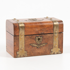 English Burl Tea Caddy with Brass Mounts
