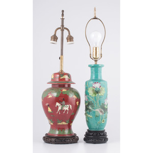 Cloisonné Lamp and Japanese-style Porcelain Lamp