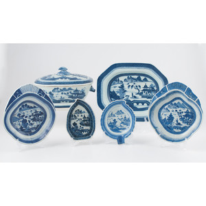 Blue and White Canton Tureen and Dishes
