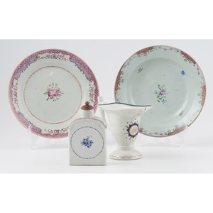 Chinese Export Soup Plates, Caddy and Creamer