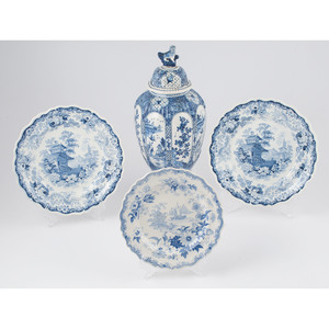 Delft Lidded Jar and English Transferware Plates