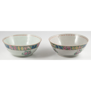Chinese Export Famille Rose Punch Bowls